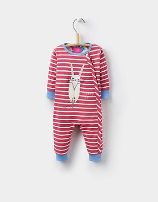 Joules 124438 Baby Girls Gracie Applique Babygrow with Poppers in Pink Stripe