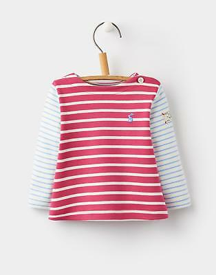 Joules 124534 Baby Girls Marina Top with Boatneck in 100% Cotton in Pink stripe