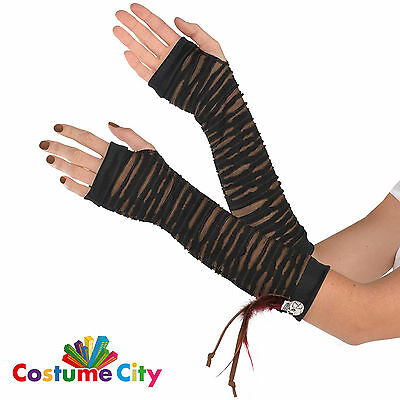 Womens Voodoo Witch Doctor Elbow Length Gloves Halloween Fancy Dress Accessory