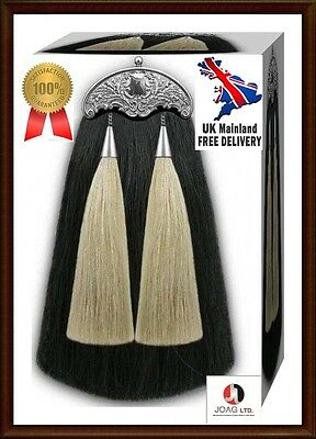 Scottish Real Horse White & Black Hair Long Two Tassels Sporrans & Chain Belt