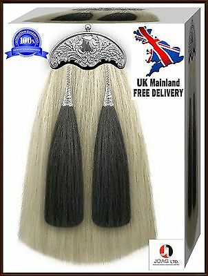 Scottish Real Horse White & Black Hair Long Two Tassels Sporrans Free Chain Belt