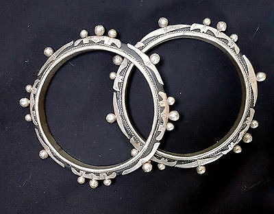 Mauritania Pair of silver and leather bracelets