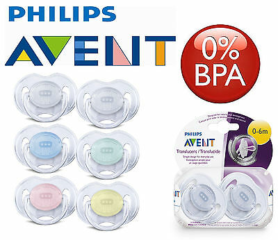 Baby Soother Dummy Pacifier Nipple Philips Translucent Time 0-6m / 6-18m 2Pk