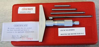 "Engineers Depth Micrometer 0-4"" (Ref: DM004) From Chronos Imperial"