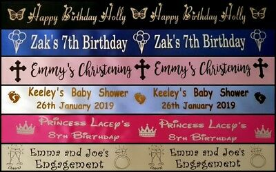PERSONALISED satin cake ribbon 50mm wide, choice of colours, you choose length