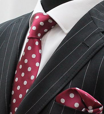 Men's Tie & Handkerchief Set Wine Red with Silvery White Polka Dot LUC185