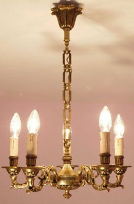 Superb Vintage French 5 Light Empire Chandelier in Bronze