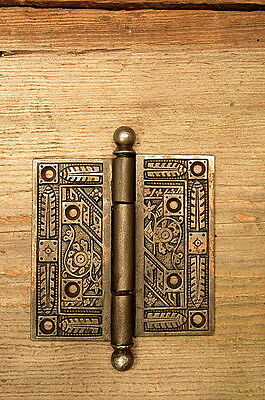 "Ornate Victorian Cast Iron 4 1/2"" X 4 1/2"" Door Hinge Vintage Antique"
