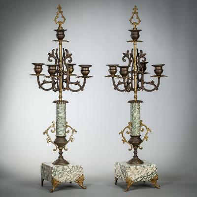 "21"" Pair of Antique Bronze Marble Candelabras 5 Tier Baroque 2 Candle Holders"