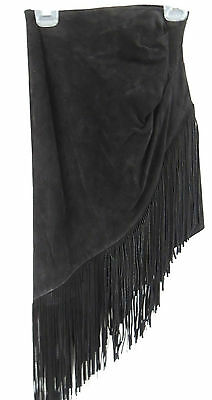 Vintage Asymmetrical 70's Hippy Black suede Leather & fringed Skirt size 7/8