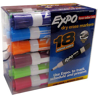 18 Count Pkg EXPO Assorted Color DRY ERASE MARKERS low odor white board