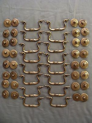 "16 ""New Old Stock"" Solid Brass Drawer/Cabinet Bail Pulls - 3 1/2"" Boring"