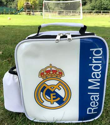 Real Madrid F.C. Vertical Lunch Bag/Box with Insulated Bottle Pocket | Lunchbox