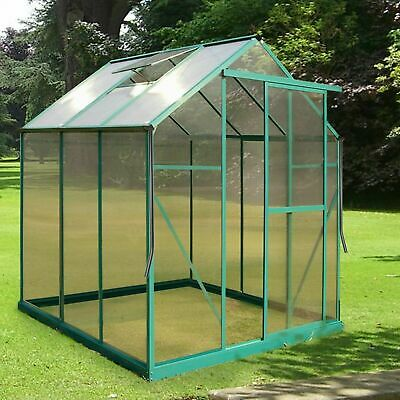 6x6 Greenhouse Aluminium & PolyCarbonate Frame No Clips FREE Rainwater Kit UV