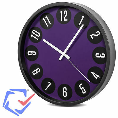 """CE-ZEGARY CE50B  Silent Modern Wall Clock 14 """"With Purple  Visible Display"""