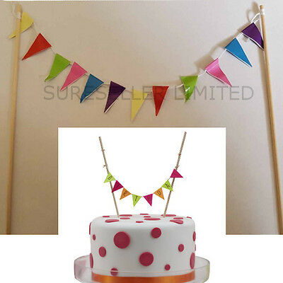Cake Topper Bunting Banner Colour Flags Birthday Wedding Cakes Decoration