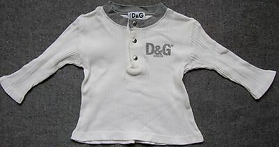 D&G Junior white cotton long sleeve t-shirt/top/polo shirt with grey trim