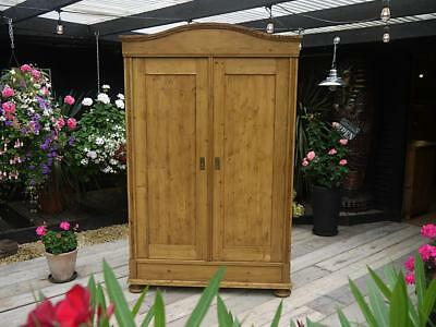 Old Antique Pine 'knock Down' Sectional Double Wardrobe - Large Hanging Space!