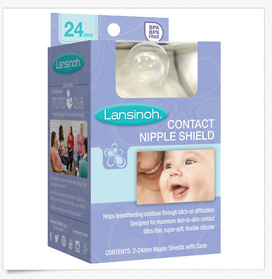 Lansinoh Contact Nipple Shield, 2-24mm Nipple Shields With Case