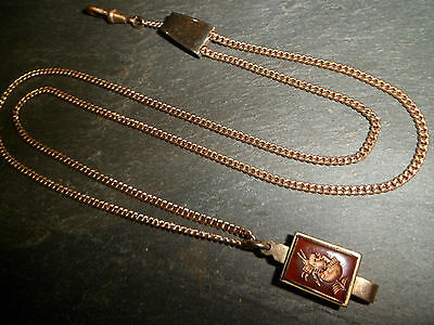 ANTIQUE 9ct ROSE ROLLED GOLD ALBERT OR ALBERTINA POCKET WATCH CHAIN INTAGLIO FOB