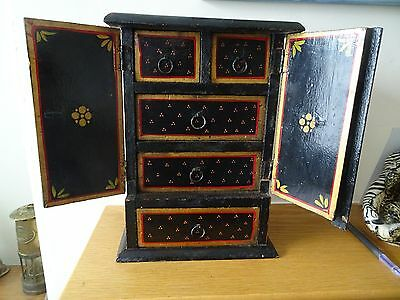 Small  lacquered 5 drawer 2 door Jewellery Box Cabinet