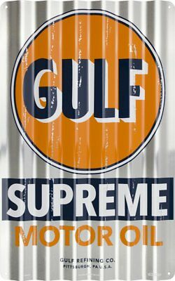 GULF SUPREME MOTOR OIL CORRUGATED SIGN Gas Pump Station Garage Man Cave