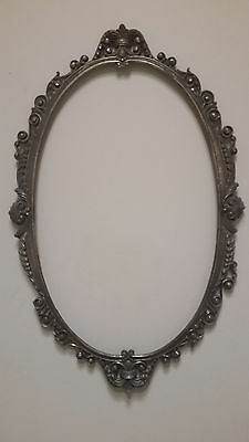 "French Antique 31"" X 20"" Bronze Oval Picture Frame Mirror Frame (Needs Repair)"
