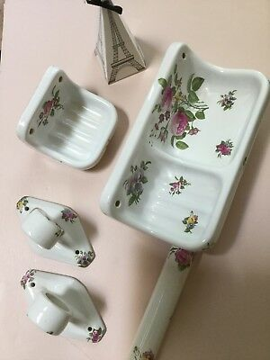 "Vintage 5 piece Set Of ""Porcelaine De Paris"" Bathroom Accessories"