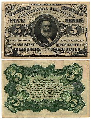 1864 1869 5 CENT U.S Fractional Note 3rd Issue SPENCER CLARK Fr#1238 Nice CIRC