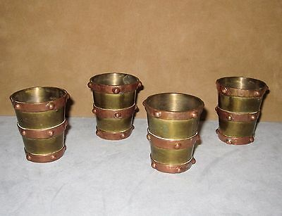 Set of 4 Vintage Taxco Mexican Arts & Crafts Shot Glasses, Mixed Metals, Studded