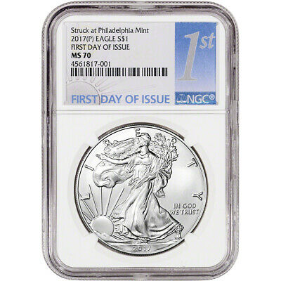 2017-(P) American Silver Eagle - NGC MS70 - First Day Issue - 1st Label