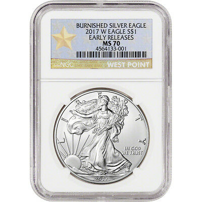 2017-W American Silver Eagle Burnished - NGC MS70 - Early Releases WP Star