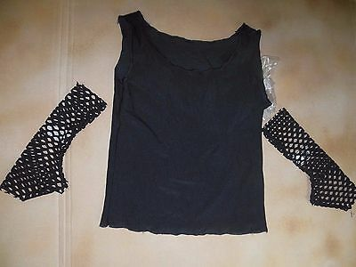 NWT Black spandex tank with mesh mitts large child Wolff Fording Costume items