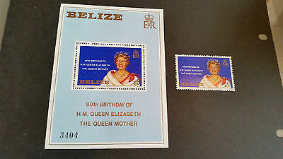 Belize 1980 Sg 592 + Ms 80Th Birthday Of Queen Mother Mnh