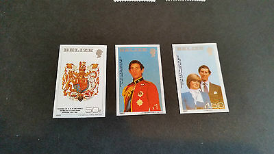 Belize 1981 Sg 614-616 Royal Wedding Imperf Set.mnh