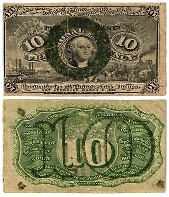 1863-67 10 CENT US Fractional Note 2nd Issue WASHINGTON BRONZE OVAL Fr#1246 VG/F