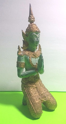 Teppanom Gilded Kneeling Male Sculpture -Thai Angel Statue