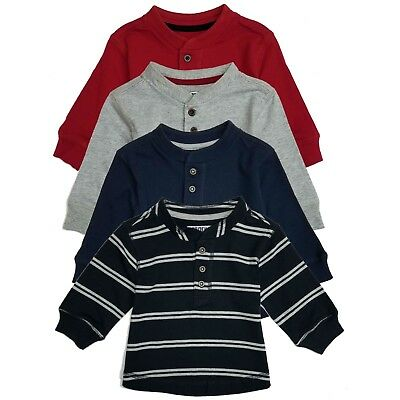 New Baby Toddler Boys Tee t Shirt set Long Sleeves Henley 12m 18m 24M 2T 3t 4T