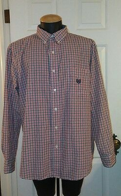 CHAPS EASY CARE Mens Red White Blue Plaid Button Down Collar Shirt Size XL