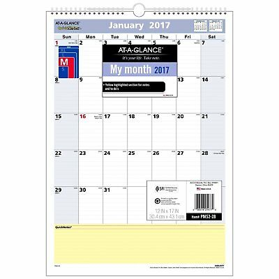 AT-A-GLANCE Wall Calendar 2017, Monthly, QuickNotes, 12 x 17, Wirebound PM52-28