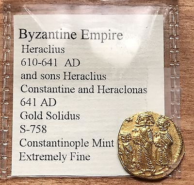 Gold Ancient Byzantine Empire, Heraclius With Sons, Gold Solidus 641 AD