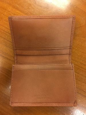 BROOKS BROTHERS Genuine Leather Bifold Card Holder Cognac Smooth Wallet New