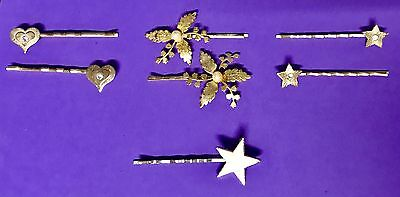 Vintage Hair Pins With Flower, Star And Heart Accents All Goldtone Lot Of 7 M3