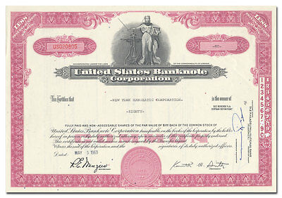 United States Banknote Corporation Stock Certificate