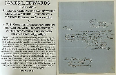 War 1812 Navy Marine Hero President Jackson Pension Fraud Commsnr Letter Signed!