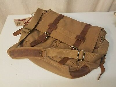 Messenger Bag Cross Body Canvas & Leather Satchel Brown AUGUR STRAUSS ~ NWT!