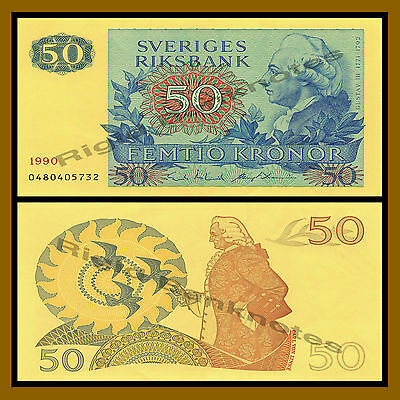 Sweden 50 Kronor, 1990 P-53d About Uncirculated (Au)