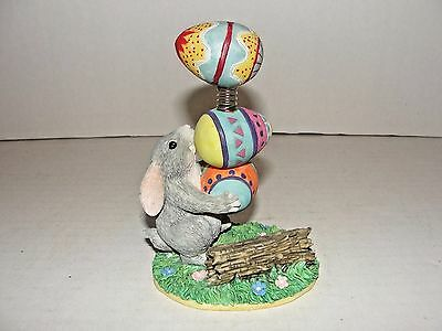 Early Silvestri Charming Tails Bunny Rabbit Balancing Easter Eggs Figurine