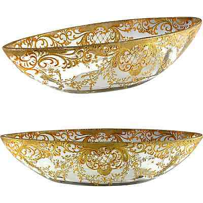 Antique Victorian Cut Glass Hand Painted Gilt Raised Enamel Centerpiece Bowl