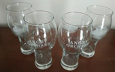 Angry Orchard Hard Cider 16 oz Apple Pint Glass ~ Set of Four (4) Glasses ~ NEW